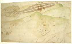 A Coloured Plan, or Bird's Eye View, of the Town of Edinburgh